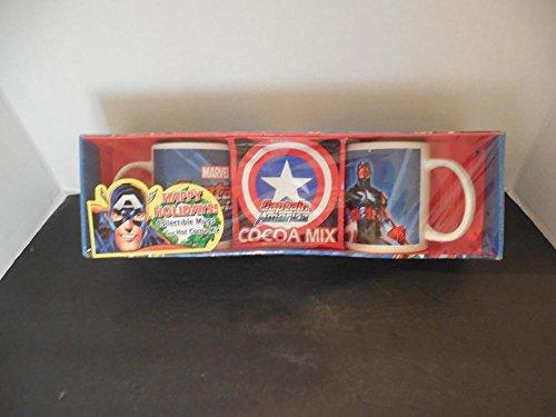 Capt America Collectible Mugs And Hot Cocoa Mix NIB 2004 Sherwood