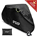 IPSXP Bike Cover, Bicycle Cover with Lock Hole Storage Bag for 29er Mountain Road Electric Bike Motorcycle Cruiser Outdoor Storage, Waterproof, Anti-UV, Ripstop Material (82L x 44H x 30W Inch)