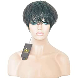 VRZ Short Human Hair Wigs Full Density Medium Average Cap Size Natural Color Can be Dyed (YM8672)