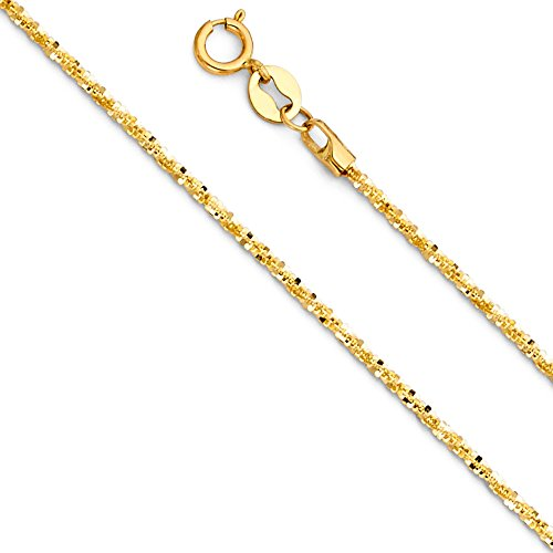 Jewels By Lux 14K Yellow Gold 1.1MM Spring Ring Glitter Chain Necklace - 16 Inches (14k Yellow Gold Glitter)