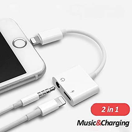 iPhone Headphone Adapter, Dual Lightning & Spliter 2 in 1 Aux Headphone  Jack & Charge Cable Adapter, 3 5mm Lightning Adapter for