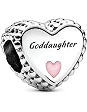 Annmors Jewelry Goddaughter Heart Charm 925 Sterling Silver for Woman Girl Beads Gifts for Women Bracelet&Necklace T257