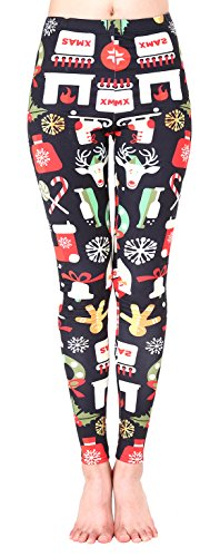 Jescakoo Cute Small X-mas Decors Printed Leggings Christmas Party Costume Black L