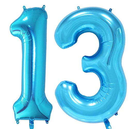 MAGJUCHE 40 inch Blue Foil 13 Helium Jumbo Digital Number Balloons,Blown up with Helium, 13th Birthday Party Supplies Decoration for Girls or Boys