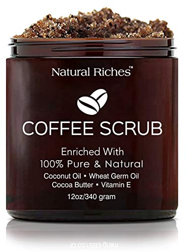 Arabica Coffee Scrub, All Natural Body Scrub for Skin Care, Stretch Marks, Acne & Cellulite, Reduce the Look of Spider Veins, Eczema, Age Spots & Varicose Veins - (12 Oz / 340gm)