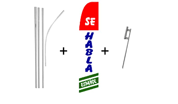Se Habla Espanol 3 Super Flag Pole Kit Garden Outdoor