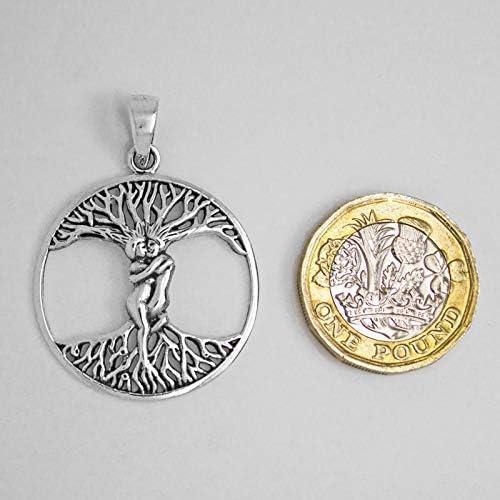 Talismanic Silver of London Pendentif Couple fusionnel Formant Un Arbre de Vie en Argent Massif Sterling 925