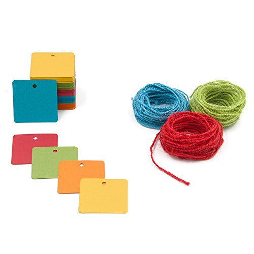 150 Square Paper Gift Tags Labels with String - 5 Assorted Colored Blank Paper Tag with Jute Twine for Thank You Baby Shower Birthday Wedding Favor ()