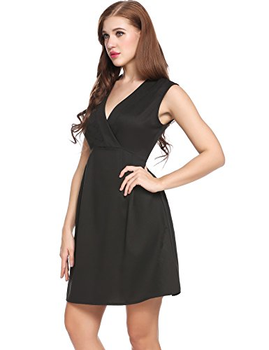Neck 4 Flare Sleeve Midi V 3 Women's and Dress ACEVOG Fit Black Enaqpf