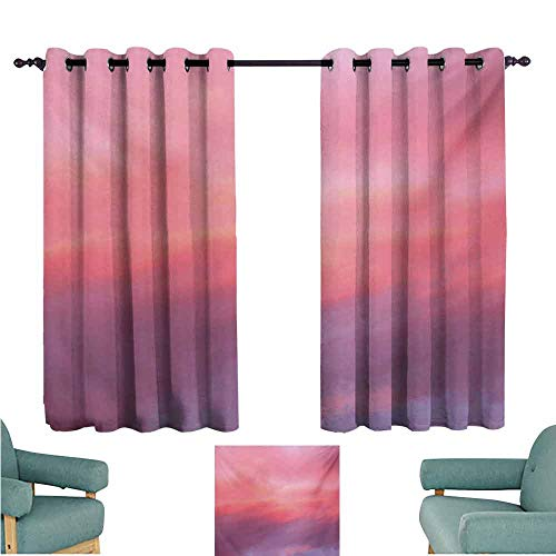 DONEECKL Decorative Curtains for Living Room Coral Beautiful Vanilla Sky with Clouds Tenderness Dreamy Unreal Soft Heavenly Blackout Draperies for Bedroom Living Room W63 xL63 Pale Pink Coral Lilac
