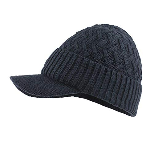 LEXUPA Winter Mens Hat and Scarf Warm Knit Cap and Scarf Outdoor (One Size,Navy) ()