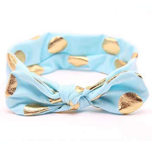 Knot Turban Usa (Baby Headband, USA Baby Turban Style Headband, Turquoise with Gold Dots Rabbit Ear Headband, Baby Knot Headband)
