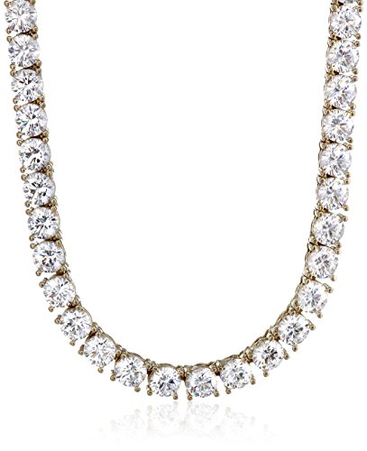 Set Tennis Necklace - Yellow-Gold Plated Sterling Silver Tennis Necklace set with Round Cut Swarovski Zirconia (5 mm), 17