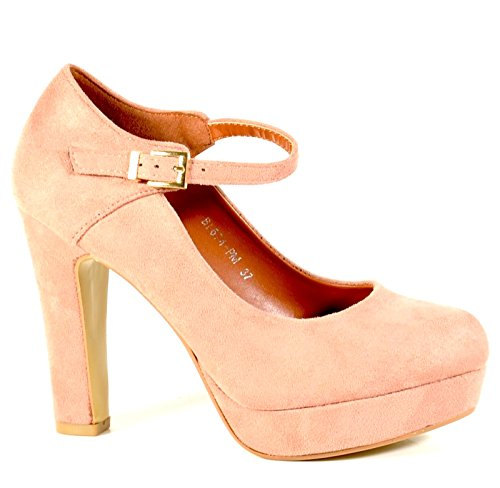 King Of Shoes Damen Mary Jane Riemchen Pumps Plateau Sandaletten Party High Heels Schnalle Blockabsatz 6 Pink