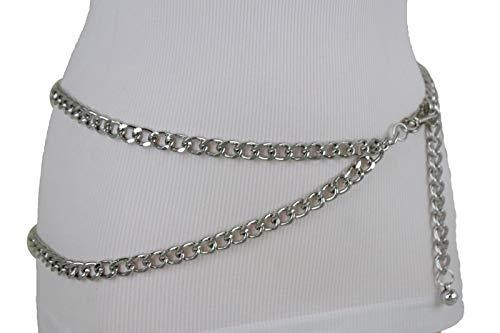 TFJ Women Silver Metal Chain Skinny Belt Hip High Waist Waistband Size M L XL