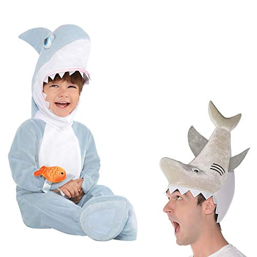 Parents Baby Halloween Costumes (Party City Parent and Baby Shark Costumes, Size 12 Months to 24 Months, with a Shark Jumpsuit and Matching Adult)