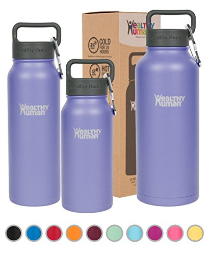 Healthy Human Water Bottle - Cold 24 Hours, Hot 12 Hours. Vacuum Insulated Stainless Steel Double Walled Thermos Flask with Carabiner & Hydro Guide - Lilac - 21 oz (Bottles Twenty)