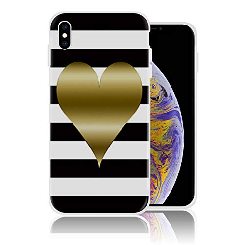Silicone Case for iPhone 7 and iPhone 8, Black and White Stripe Heart Pattern Personalized Design Printed Phone Case Shockproof Full Body Protection Anti-Scratch Drop Protection Cover