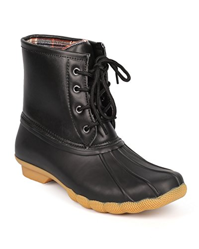 Refresh Women Leatherette Two Tone Mix Media Lace Up Duck Boot DD26 - Black (Size: 7.0)