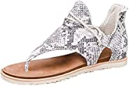 Women's Posh Gladiator Sandals Peep Toe Casual Vintage Print Sandals with Zi