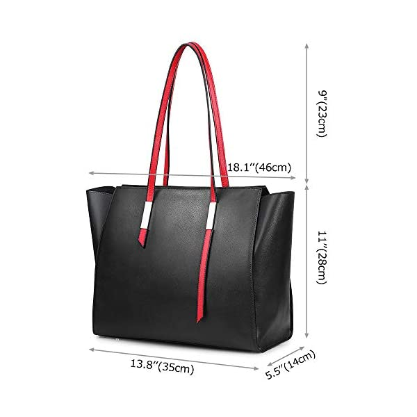 S-ZONE Genuine Leather Tote bag for Women Large Tote Shoulder Bag Work Purse