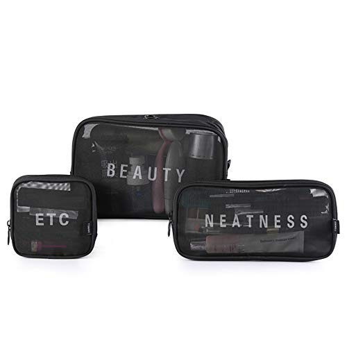 Hienjoy Mesh Cosmetic Bags Set 3 Pieces See Through Make Up Pouch Bag Clear Toiletries Organizer (Black)