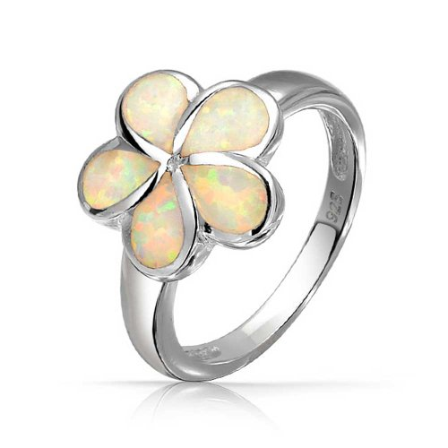 (White Created Opal Hawaiian Plumeria Flower Ring For Women For Teen 925 Sterling Silver October Birthstone)