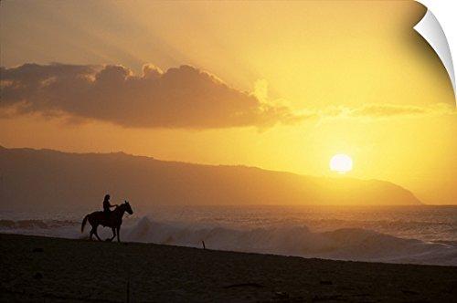 Rick Swart Wall Peel Wall Art Print entitled Hawaii, Oahu, North Shore, Girl On Horseback At Sunset On Beach (North Shore Riders)