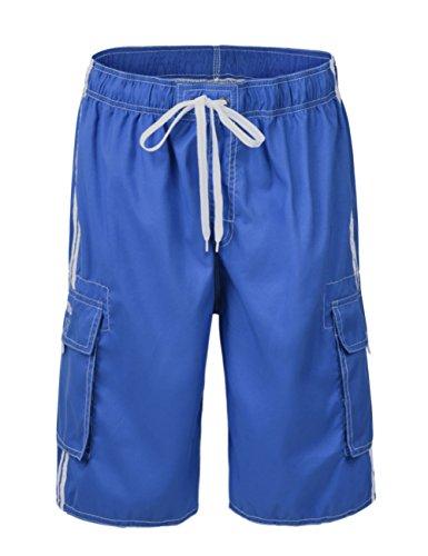 (Nonwe Men's Summer Cargo Swim Trunk Board Shorts With Mesh lining Sky Blue 30)