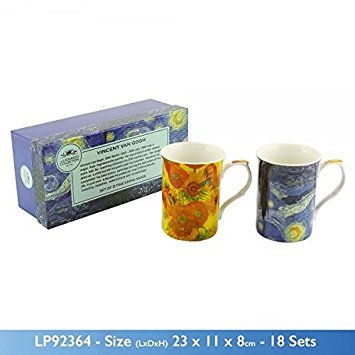 Set of 2 Van Gogh Fine Bone China Mug Set in a Gift Box by The Leonardo Collection