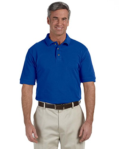 Harriton Tall Ringspun Pique Short-Sleeve Polo Shirt-3XLT (True Royal) ()
