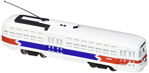 Bachmann Industries Pac Streetcar with Operating Headlight and Die-Cast Power Truck, Red, White & Blue ()