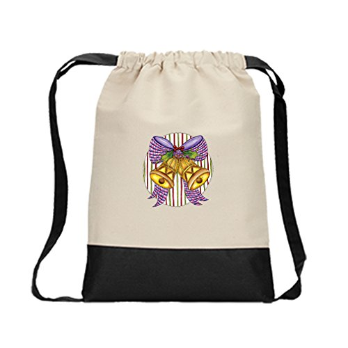 Canvas Backpack Color Drawstring Couple Of Bells With A Bow By Style In Print | Black by Style in Print