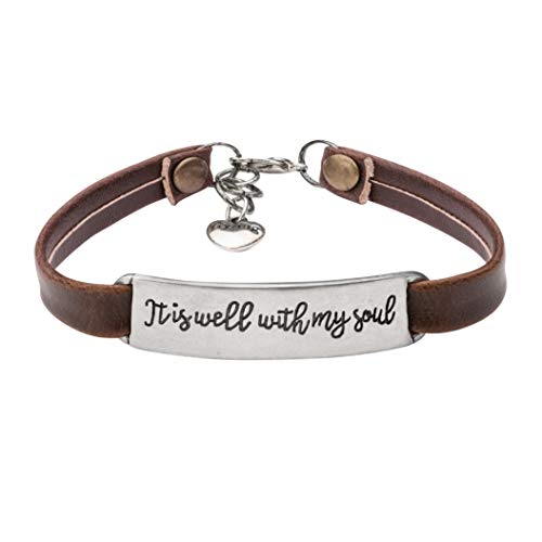UNQJRY Bible Verse Bracelet Christian Jewelry Leather Bangle Charm Motivational for WomenIt is Well with My Soul