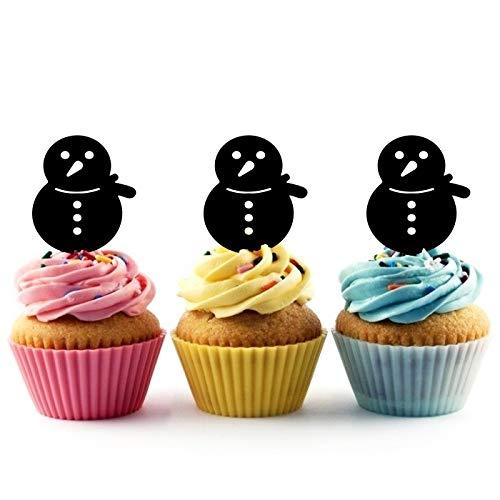 - TA0969 Xmas Snowman Silhouette Party Wedding Birthday Acrylic Cupcake Toppers Decor 10 pcs