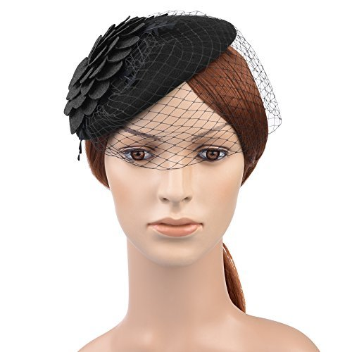 (VBIGER Fascinator Hats Wedding Hats Pillbox Hat Woolen Felt Hat Bow Veil For Women (Black)