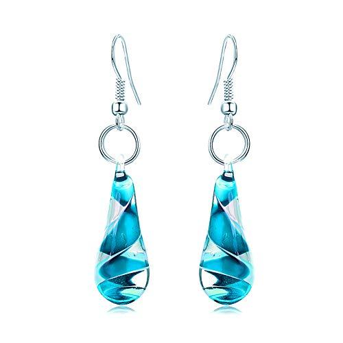 GIMEFIVE Handmade Water Drop Shape Spiral Lampwork Fashion Glass Bead Pendant Dangle Earrings - Earrings Lampwork Glass