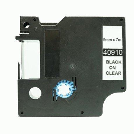 Ruban Compatible Dymo 40910 Noir sur Transparent - 9mm X 7 M