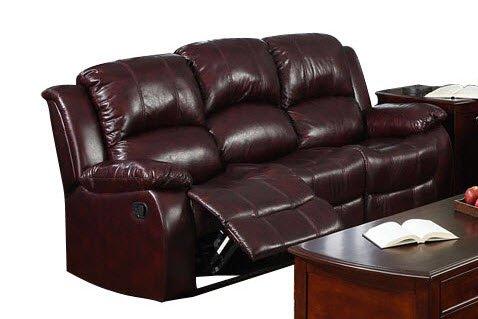 Daniels Cabernet Leatherette Recliner Sofa