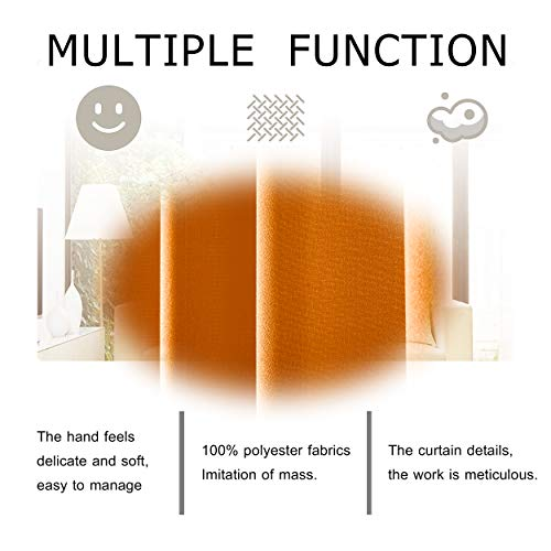 DWCN Semi Sheer Curtains Sunlight Filtering Country Modern Style Draperies 8 Grommets Window Orange Curtain 52x63 inch Long Set of 2 Faux Linen Panels for Living Room by DWCN (Image #6)