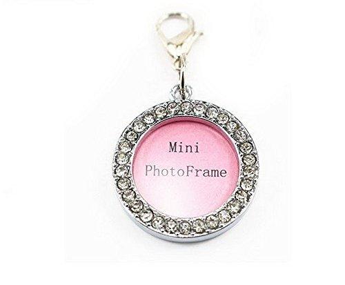 Fashion Pet Dog Cat Diamond Rhinestone Pendant Photo Frame Design Collar Tag Circle Style