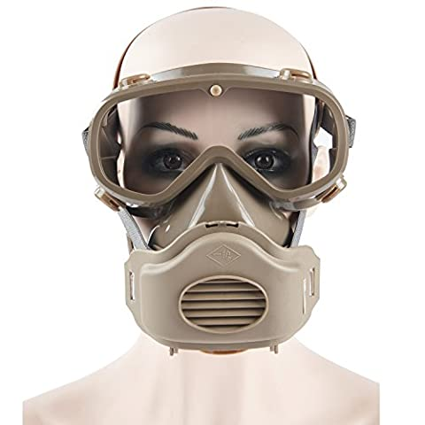 Joyutoy Safety Mask Industrial Gas Chemical Anti-Dust Paint Respirator Mask Goggles Set (Band Saw Hydraulic Cylinder)