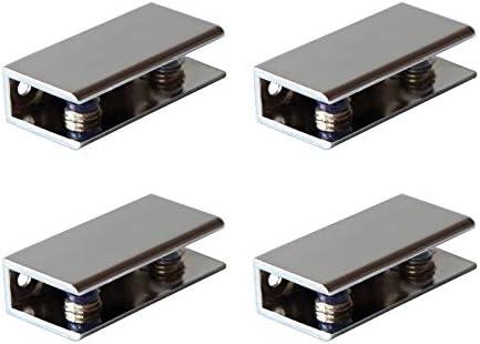 Rectangular 31x23mm Chrome Finish Glass Shelf Clip Clamp Holder Support Bracket