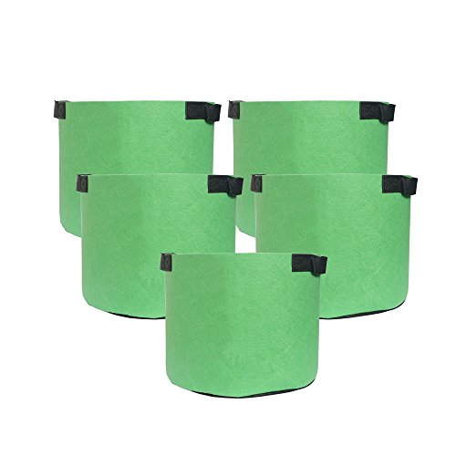 Hongville 5-Pack Grow Bags /Aeration Fabric Pots w/Handles (3-Gallons, All Green) (Grow Pots Square)