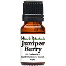 Miracle Botanicals Hungarian Wildcrafted Juniper Berry Essential Oil - 100% Pure Juniperus Communis - 10ml and 30ml Sizes - Superior Strength 10ml