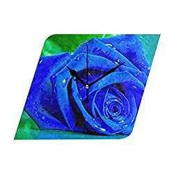 Ladninag Wall Clock Blue Rose Silent Non Ticking Decorative Diamond Digital Clocks for Home/Office/School Clock
