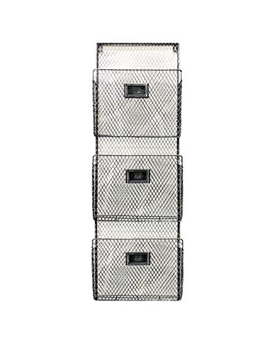 (Three Tier Wall File Holder - Durable Pewter Metal Rack with Spacious Slots for Easy Organization, Mounts on Wall and Door for Office, Home, and Work - by Designstyles)