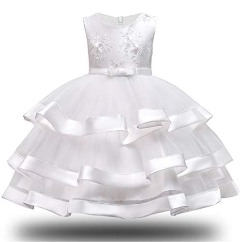White Dress for Girls 3T Christmas Halloween Lace Tutu Tulle Ruffle Dress for Girls Wedding Party Easter Thanks Giving Pageant Gown Size 3-4 Years Kids Sleeveless Ball Gowns Ruffle (White -