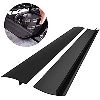Silicone Kitchen Stove Counter Gap Cover Long & Wide Gap Filler (2 Pack) Seals Spills Between Counters, Stovetops, Washing Machines, Oven, Washer, Dryer - Heat-Resistant and Easy Clean (Black)
