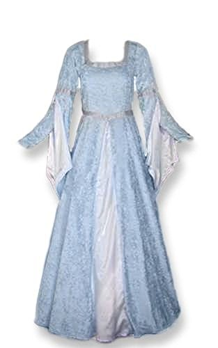 Artemisia Designs Renaissance Medieval Gown with Satin Panel Insert and Ribbon Accents Light Blue]()